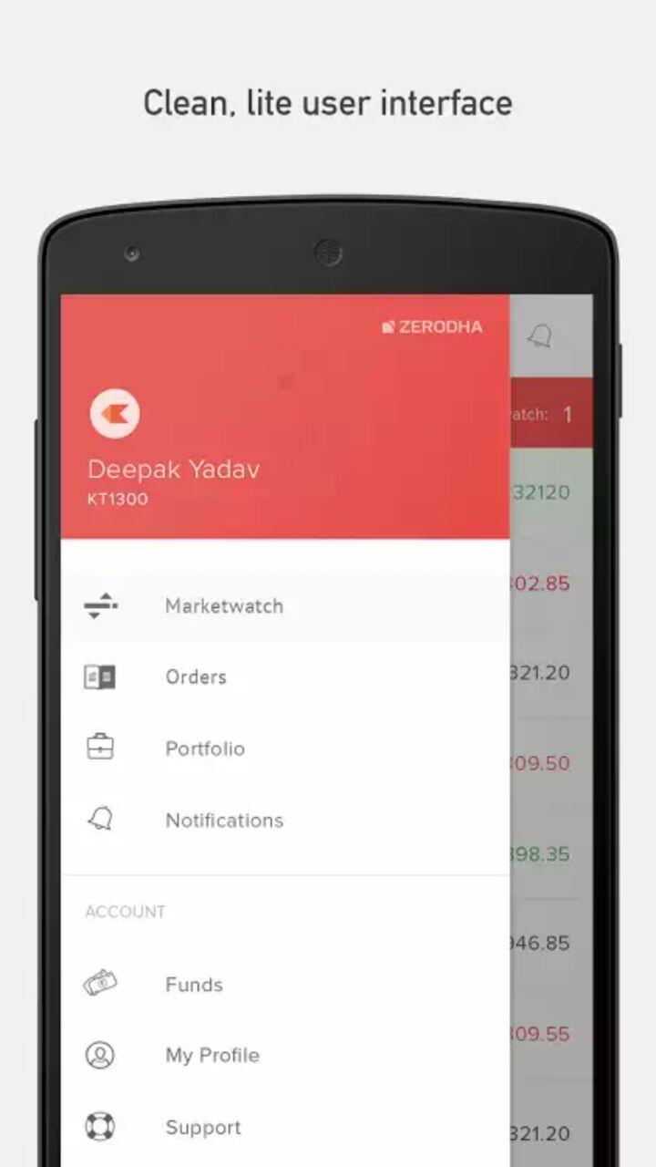 Zerodha Kite Mobile App Dashboard